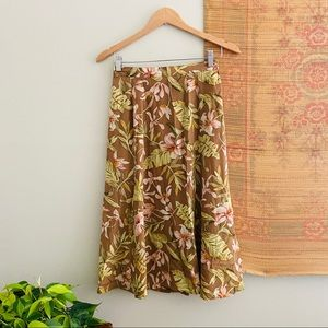 Silk Tropical Floral & Leaf Print Skirt